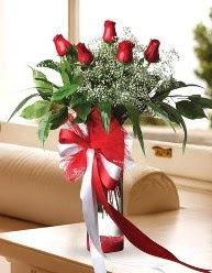 Camda 5 kırmızı gül tanzimi  Ardahan çiçekçi telefonları