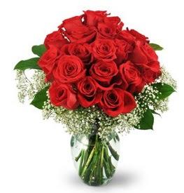 25 adet kırmızı gül cam vazoda  Ardahan çiçek , çiçekçi , çiçekçilik
