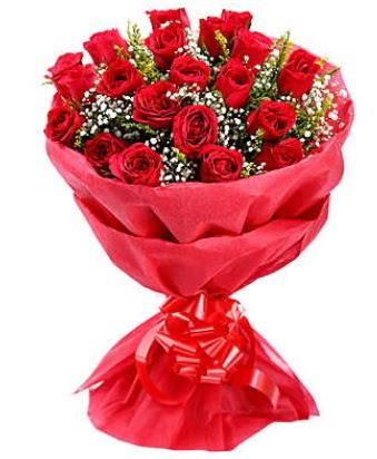 21 adet kırmızı gülden modern buket  Ardahan çiçek gönderme