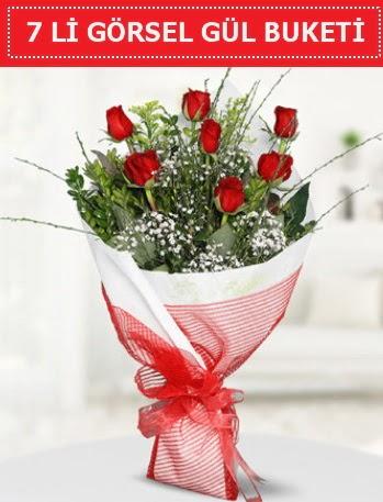 7 adet kırmızı gül buketi Aşk budur  Ardahan çiçek satışı