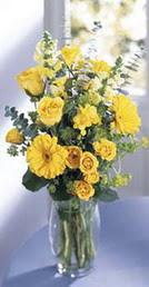 Ardahan online çiçek gönderme sipariş  sari güller ve gerbera cam yada mika vazo