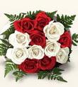 Ardahan çiçek , çiçekçi , çiçekçilik  10 adet kirmizi beyaz güller - anneler günü için ideal seçimdir -