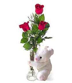oyuncak ve 3 adet gül  Ardahan çiçek siparişi sitesi