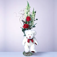 2 adet gül ve panda özel  Ardahan çiçekçi mağazası