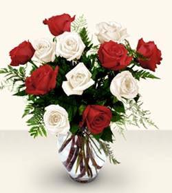 Ardahan uluslararası çiçek gönderme  6 adet kirmizi 6 adet beyaz gül cam içerisinde