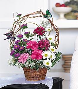 Ardahan cicekciler , cicek siparisi  sepet içerisinde karanfil gerbera ve kir çiçekleri
