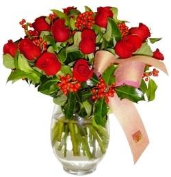 Ardahan çiçekçi mağazası  11 adet kirmizi gül  cam aranjman halinde