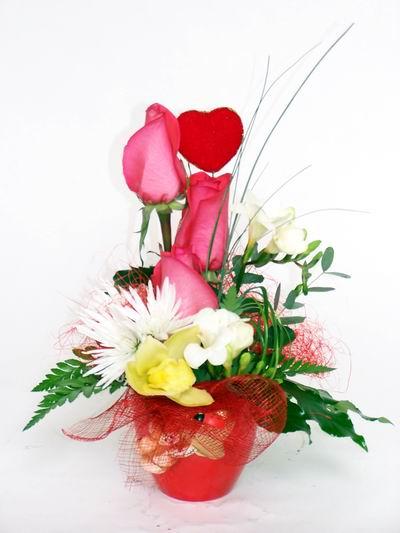 Ardahan ucuz çiçek gönder  cam içerisinde 3 adet gül ve kir çiçekleri