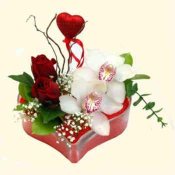 Ardahan hediye sevgilime hediye çiçek  1 kandil orkide 5 adet kirmizi gül mika kalp