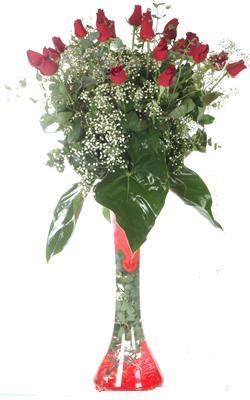 Ardahan uluslararası çiçek gönderme  19 ADET GÜL VE FIL CAM AYAGI