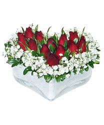 Ardahan internetten çiçek siparişi  mika kalp içerisinde 9 adet kirmizi gül