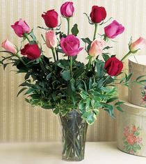 Ardahan çiçek mağazası , çiçekçi adresleri  12 adet karisik renkte gül cam yada mika vazoda