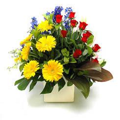 Ardahan online çiçek gönderme sipariş  9 adet gül ve kir çiçekleri cam yada mika vazoda