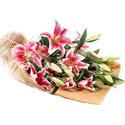 Ardahan İnternetten çiçek siparişi  4 adet pembe lilyum buketi