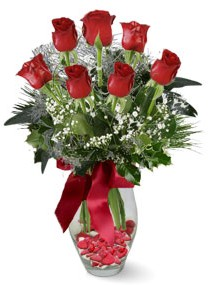 7 adet vazoda gül  Ardahan internetten çiçek satışı  kirmizi gül