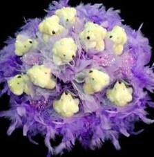 11 adet pelus ayicik buketi  Ardahan çiçek , çiçekçi , çiçekçilik