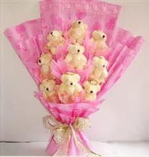 9 adet pelus ayicik buketi  Ardahan anneler günü çiçek yolla