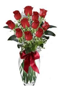 11 adet kirmizi gül vazo mika vazo içinde  Ardahan 14 şubat sevgililer günü çiçek