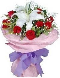9 adet kirmizi gül 1 adet kazablanka buketi  Ardahan çiçekçi mağazası