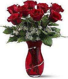 Vazo içinde 8 adet kirmizilar içinde güller  Ardahan internetten çiçek siparişi