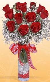 10 adet kirmizi gülden vazo tanzimi  Ardahan çiçek siparişi sitesi