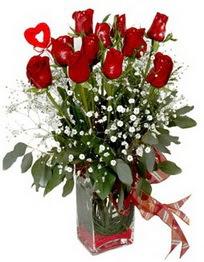 Ardahan çiçek siparişi vermek  9 adet mika yada cam vazoda gül tanzimi kalp çubuk
