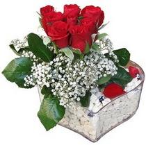 Ardahan güvenli kaliteli hızlı çiçek  kalp mika içerisinde 7 adet kirmizi gül