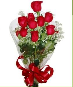 Ardahan uluslararası çiçek gönderme  10 adet kırmızı gülden görsel buket