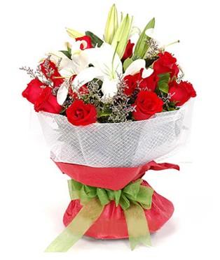 Ardahan hediye çiçek yolla  1 dal kazablanka 11 adet kırmızı gül buketi