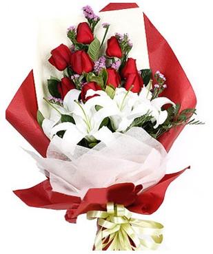Ardahan çiçekçiler  1 dal kazablankaa 9 adet kırmızı gül buketi