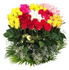 Ardahan çiçek mağazası , çiçekçi adresleri  51 adet renkli güllerden aranjman tanzimi