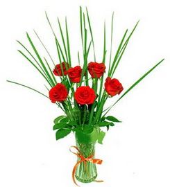 Ardahan çiçek , çiçekçi , çiçekçilik  6 adet kırmızı güllerden vazo çiçeği