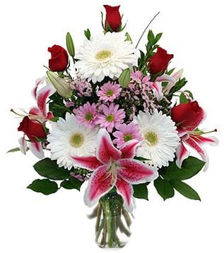 Ardahan çiçek mağazası , çiçekçi adresleri  1 dal kazablanka 5 gül ve kırçiçeği vazosu