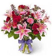 Vazo içerisinde karışık mevsim çiçeği  Ardahan çiçek siparişi sitesi