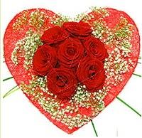 Mika kalp içerisinde 7 adet kırmızı gül  Ardahan çiçekçi mağazası