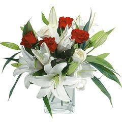 vazo içerisinde 4 gül 1 adet kazablanka  Ardahan online çiçek gönderme sipariş