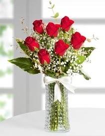 Cam vazoda 7 adet kırmızı gül  Ardahan çiçek , çiçekçi , çiçekçilik