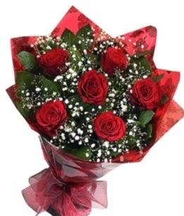 6 adet kırmızı gülden buket  Ardahan yurtiçi ve yurtdışı çiçek siparişi