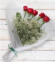 5 kırmızı gülden sade buket  Ardahan çiçek yolla