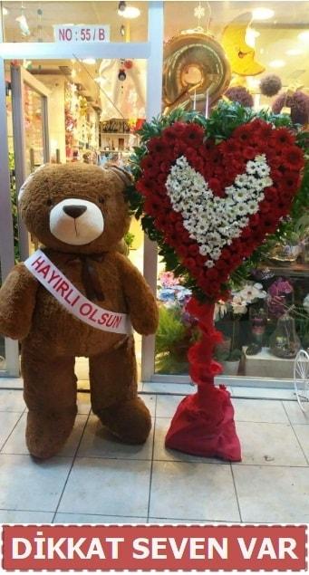 1.5 Metre peluş ayı ve Kalp  Ardahan çiçek gönderme sitemiz güvenlidir