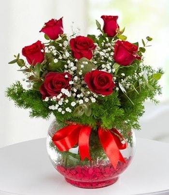 fanus Vazoda 7 Gül  Ardahan çiçek , çiçekçi , çiçekçilik
