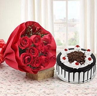 12 adet kırmızı gül 4 kişilik yaş pasta  Ardahan çiçek , çiçekçi , çiçekçilik