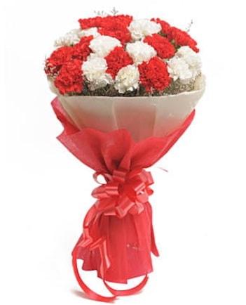 21 adet kırmızı beyaz karanfil buketi  Ardahan çiçek satışı