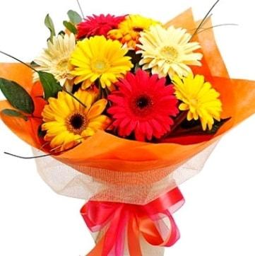 9 adet karışık gerbera buketi  Ardahan çiçek , çiçekçi , çiçekçilik