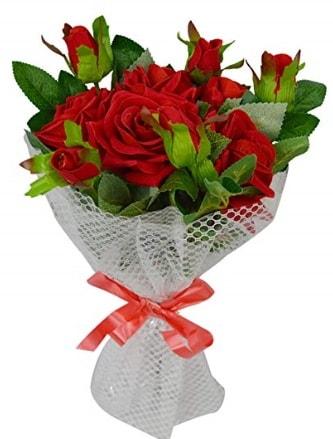 9 adet kırmızı gülden sade şık buket  Ardahan çiçekçi telefonları