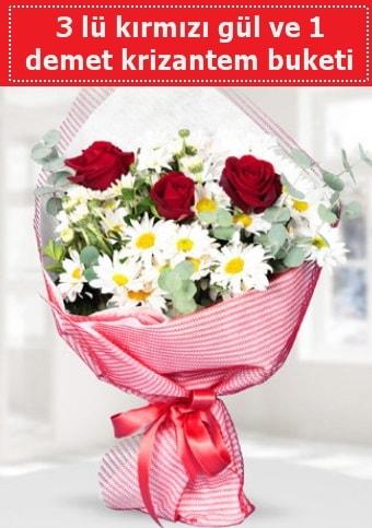 3 adet kırmızı gül ve krizantem buketi  Ardahan çiçek gönderme sitemiz güvenlidir