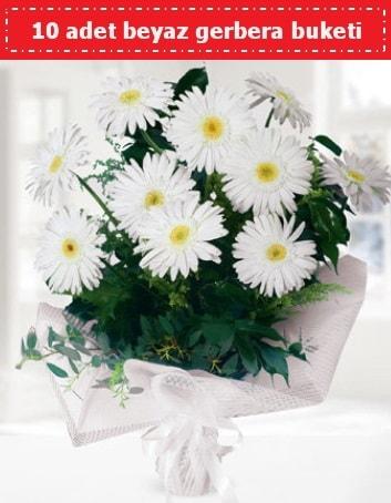 10 Adet beyaz gerbera buketi  Ardahan çiçek , çiçekçi , çiçekçilik