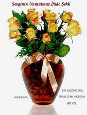 Ardahan internetten çiçek satışı  mika yada Cam vazoda 12 adet sari gül